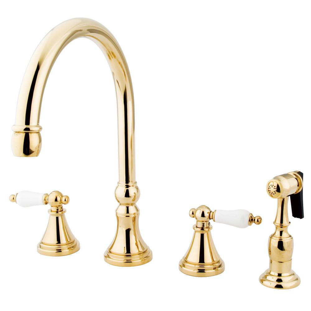 "Kingston Polished Brass 8"" Deck Mount Kitchen Faucet w Brass Sprayer KS2792PLBS"