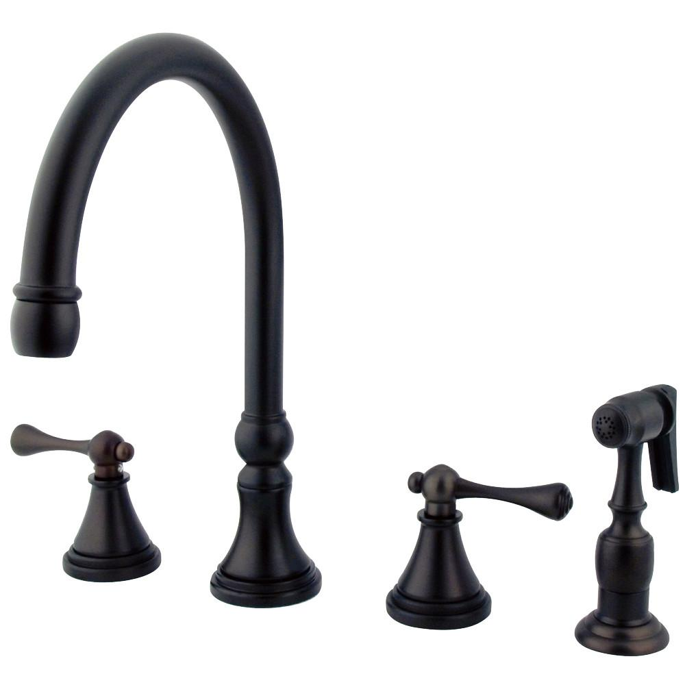 "Kingston Oil Rubbed Bronze 8"" Deck Mount Kitchen Faucet w Sprayer KS2795BLBS"