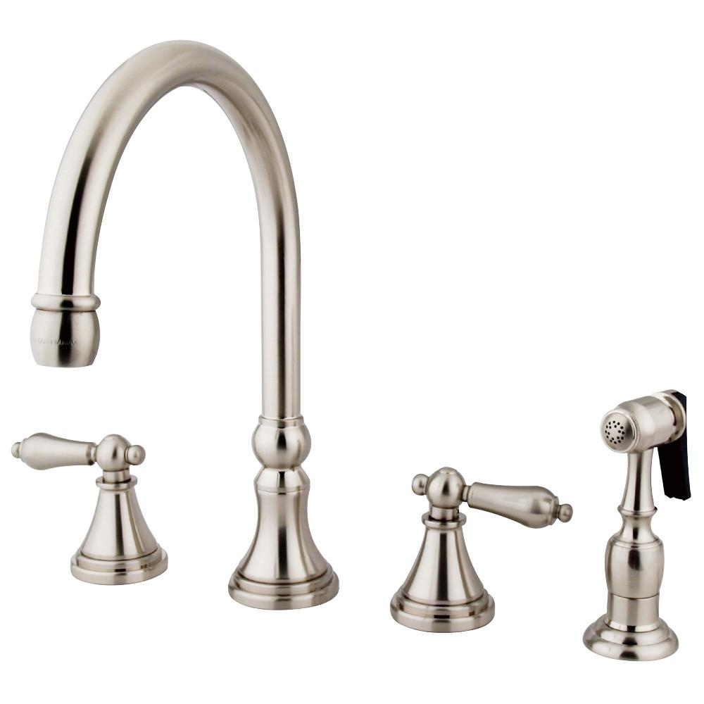 "Kingston Satin Nickel 8"" Deck Mount Kitchen Faucet with Brass Sprayer KS2798ALBS"
