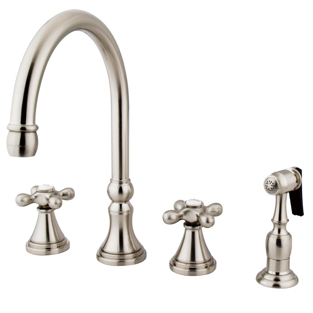 "Kingston Satin Nickel 8"" Deck Mount Kitchen Faucet with Brass Sprayer KS2798AXBS"