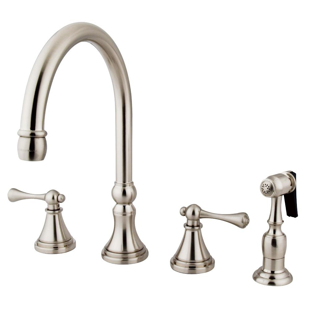 "Kingston Satin Nickel 8"" Deck Mount Kitchen Faucet with Brass Sprayer KS2798BLBS"