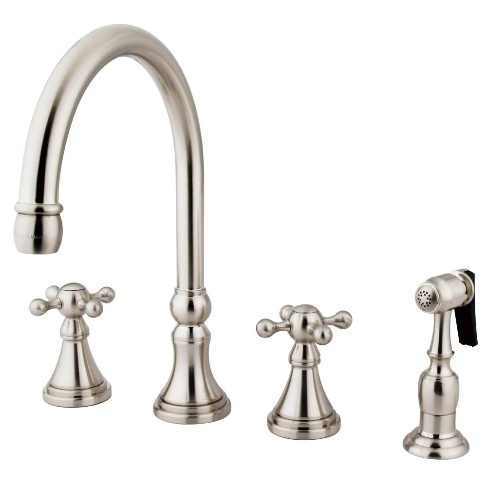 "Kingston Satin Nickel 8"" Deck Mount Kitchen Faucet with Brass Sprayer KS2798KXBS"