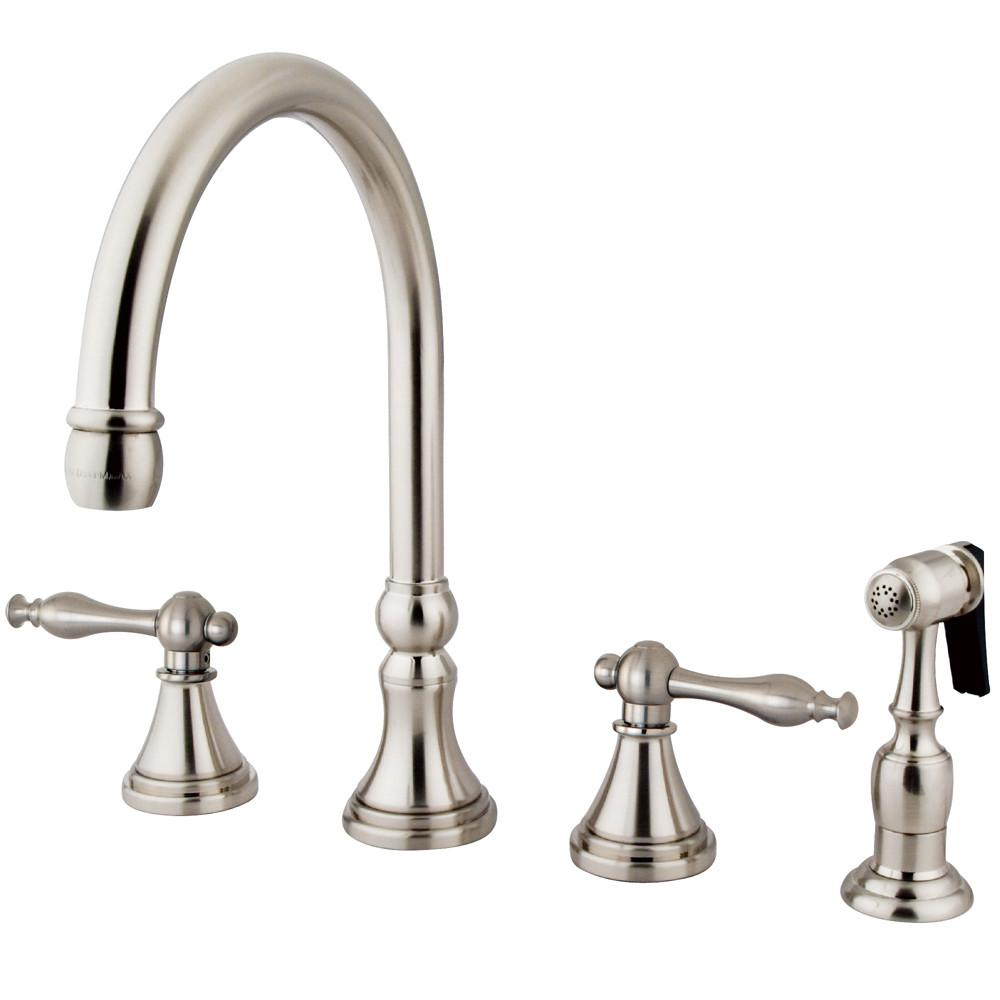"Kingston Satin Nickel 8"" Deck Mount Kitchen Faucet with Brass Sprayer KS2798NLBS"