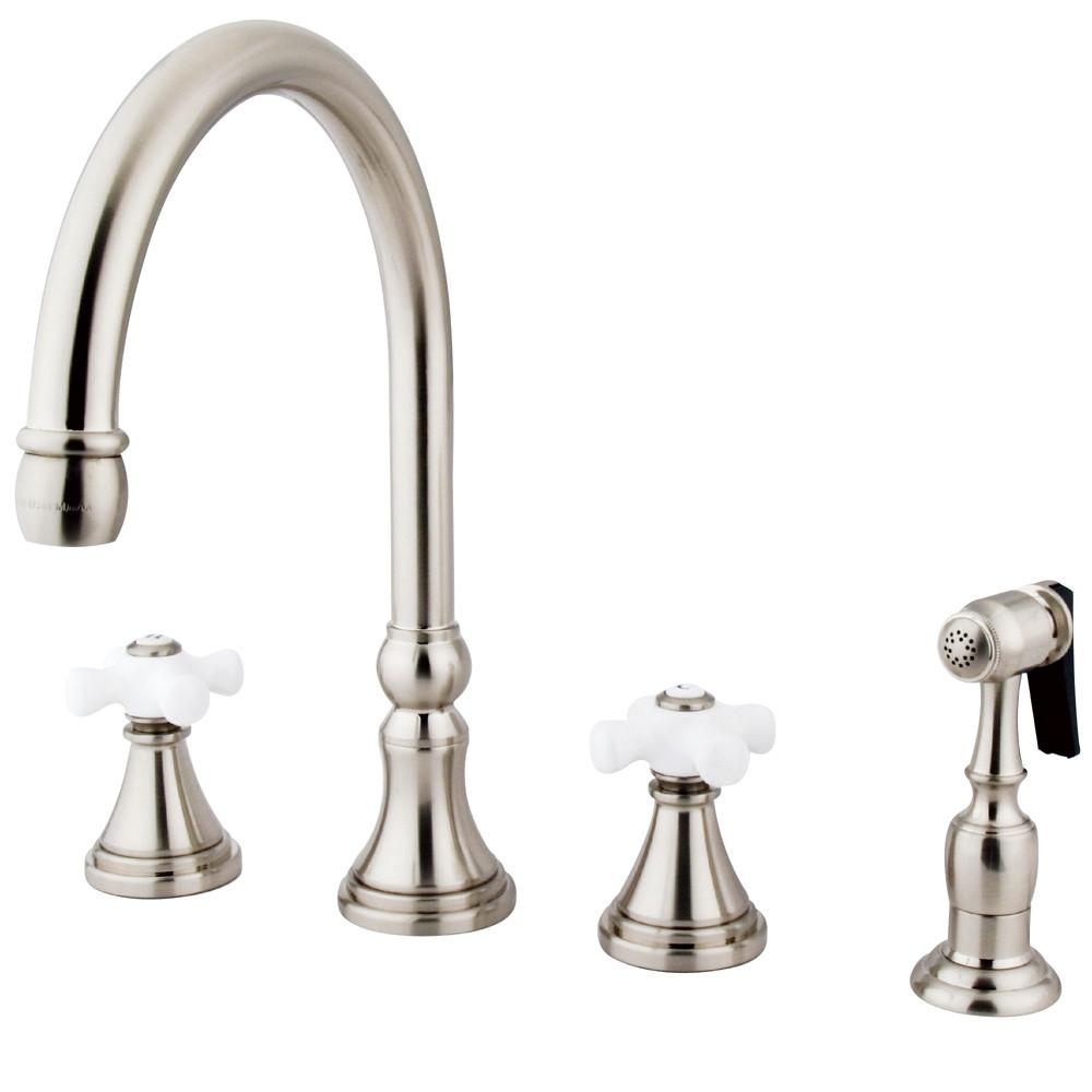 "Kingston Satin Nickel 8"" Deck Mount Kitchen Faucet with Brass Sprayer KS2798PXBS"