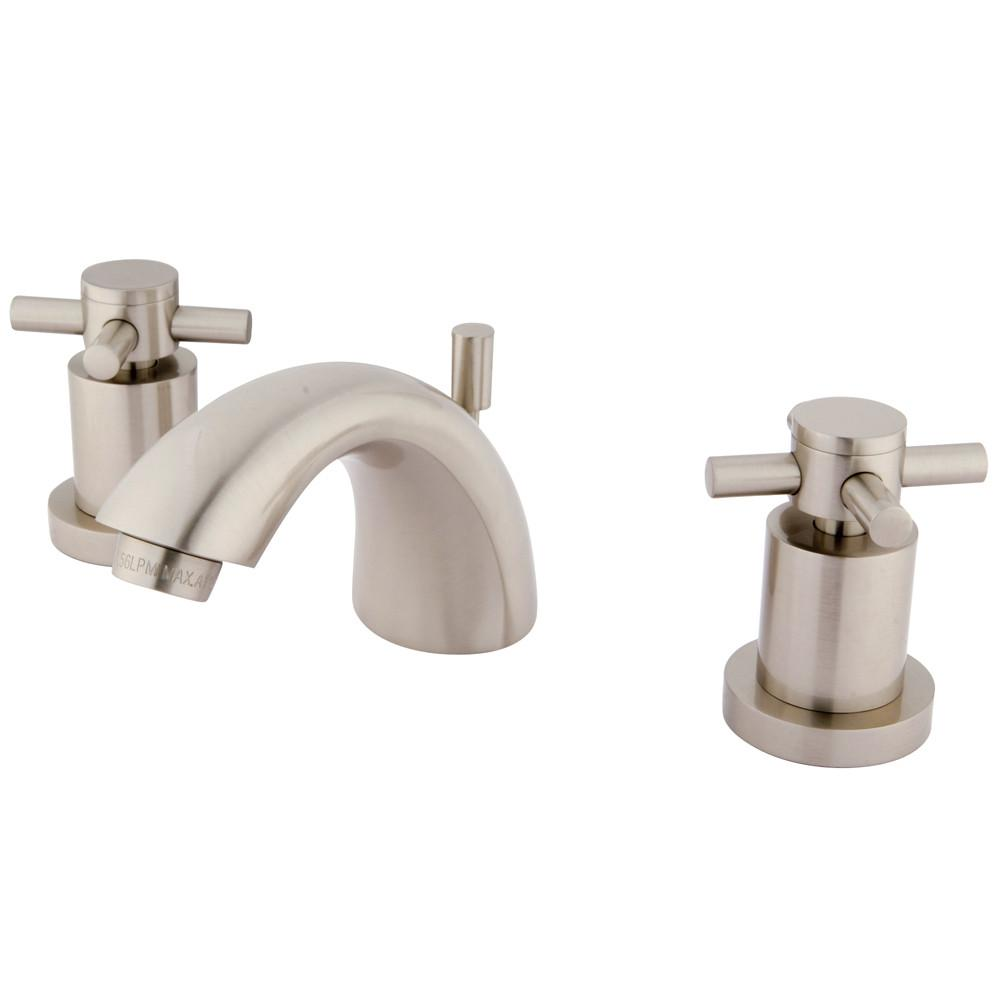 Satin Nickel Two Handle Mini Widespread Bathroom Faucet w/ Brass Pop-Up KS2958DX