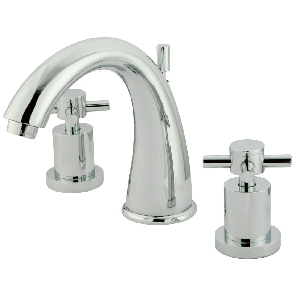 Chrome Two Handle Widespread Bathroom Faucet w/ Brass Pop-Up KS2961DX