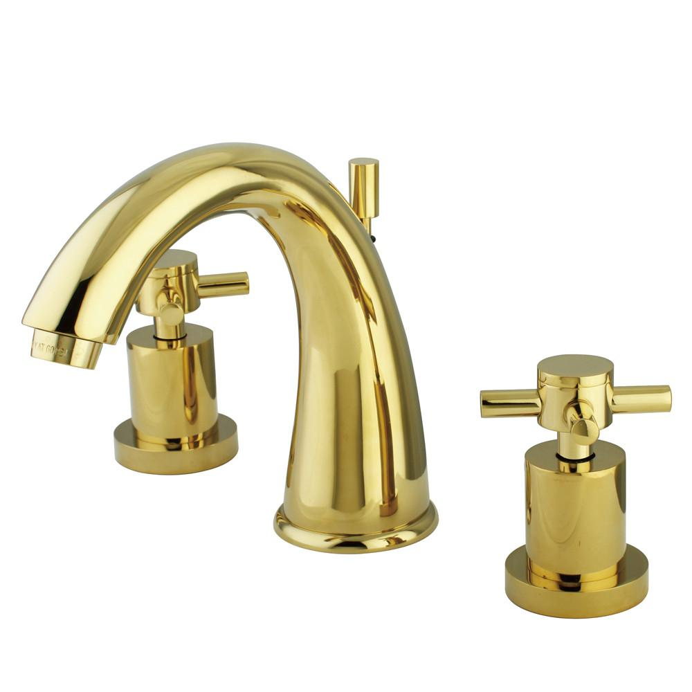 Polished Brass Two Handle Widespread Bathroom Faucet w/ Brass Pop-Up KS2962DX