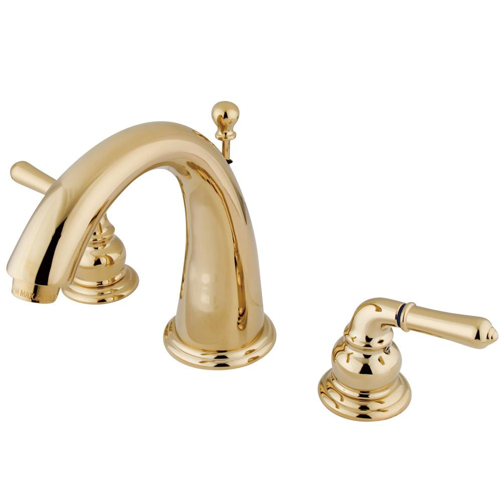Kingston Polished Brass 2 Handle Widespread Bathroom Faucet w Pop-up KS2962