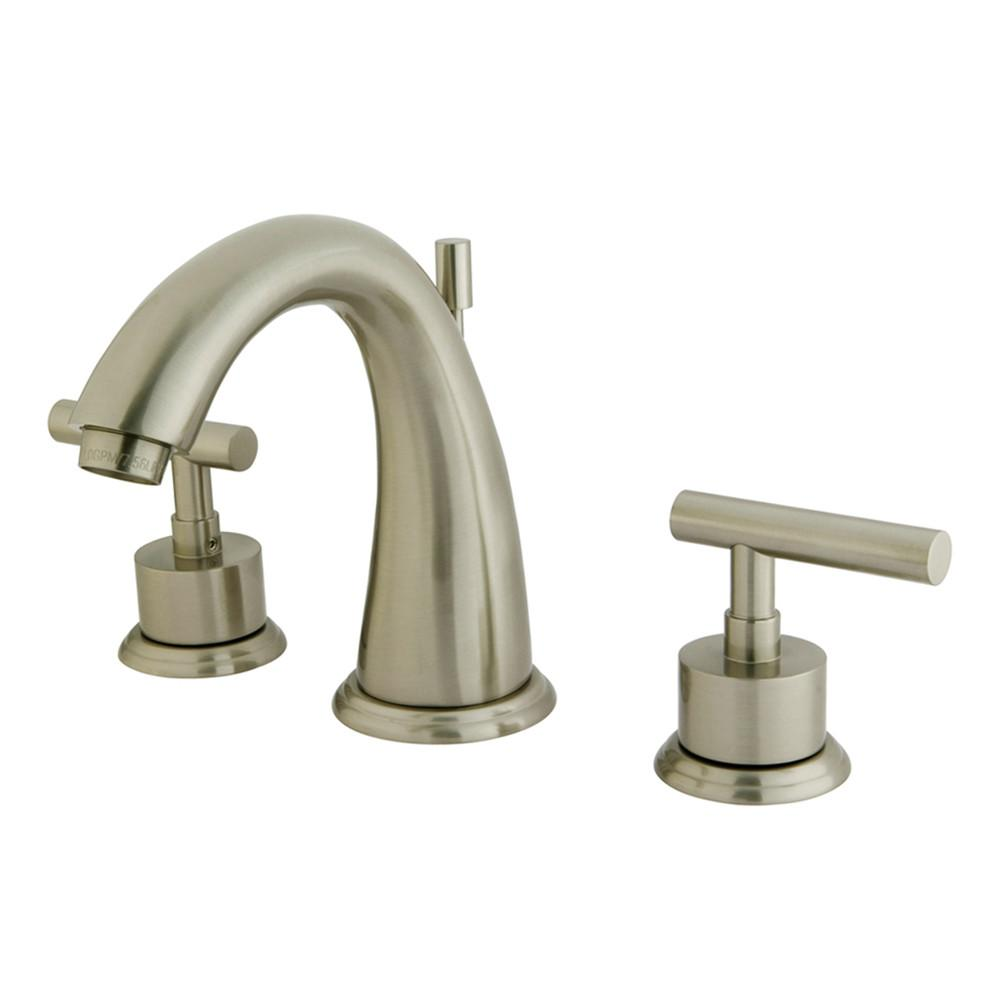 Kingston Satin Nickel Manhattan widespread Bathroom faucet w drain KS2968CML