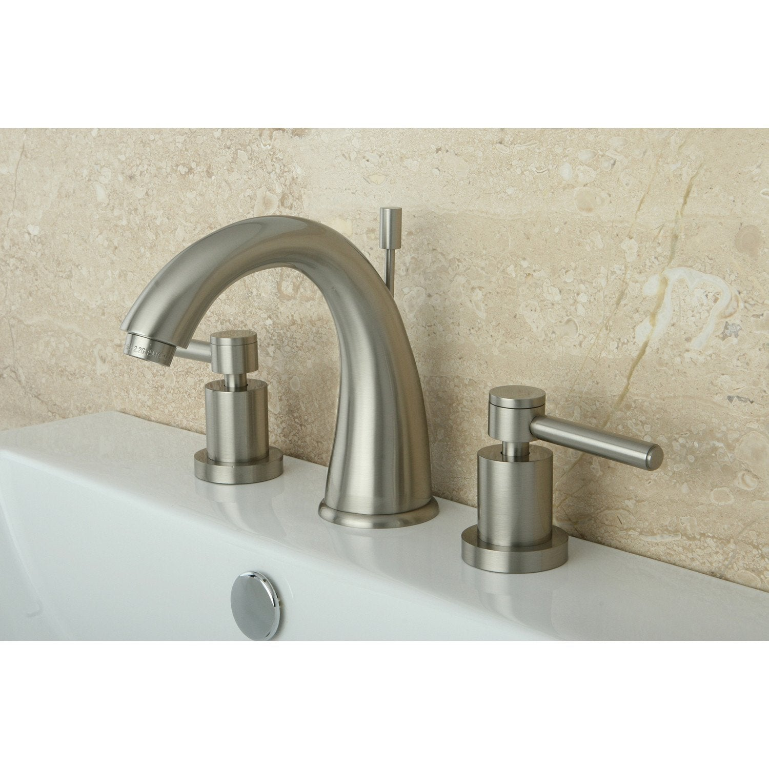 Satin Nickel Two Handle Widespread Bathroom Faucet w/ Brass Pop-Up KS2968DL