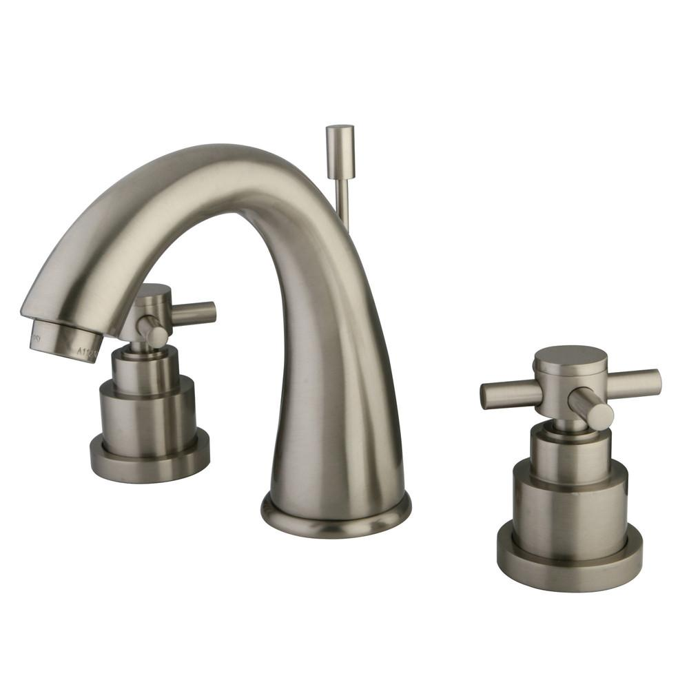 Kingston Satin Nickel 2 Handle Widespread Bathroom Faucet w Pop-up KS2968EX