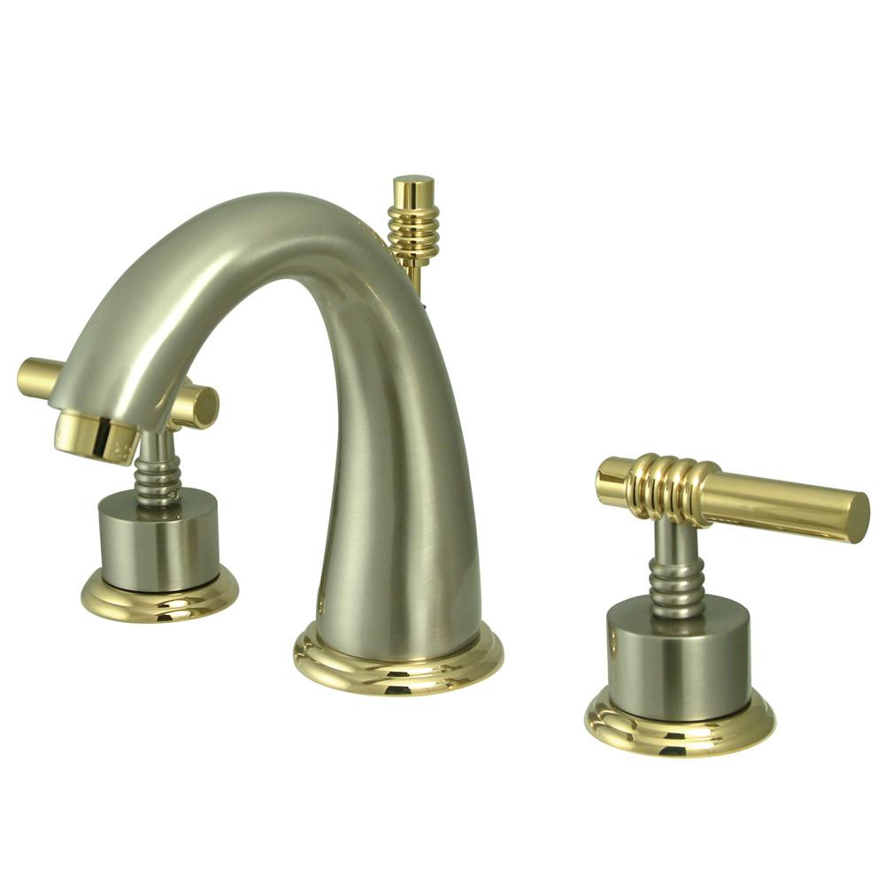 Kingston Satin Nickel/Polished Brass Widespread Bathroom Faucet KS2969ML