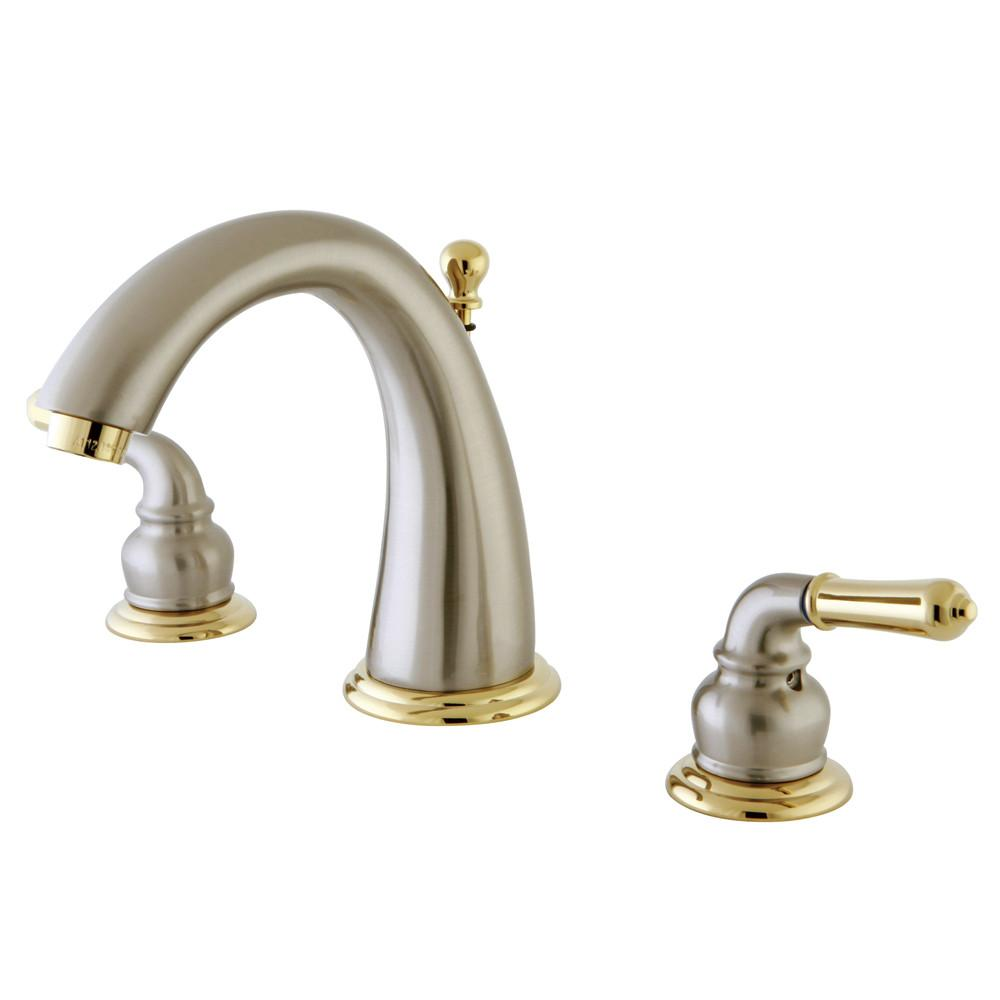 Kingston Satin Nickel/Polished Brass Widespread Bathroom Faucet w Pop-up KS2969