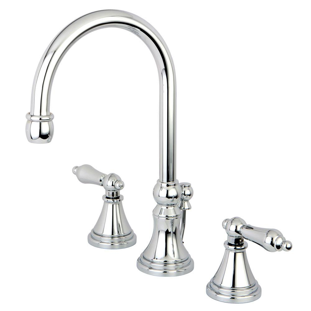 Kingston Brass Chrome 2 Handle Widespread Bathroom Faucet w Pop-up KS2981AL