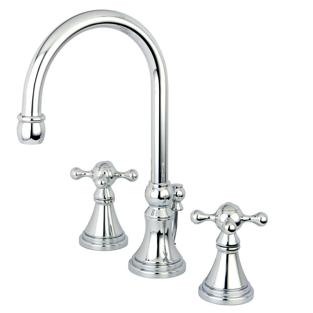Kingston Brass Chrome 2 Handle Widespread Bathroom Faucet w Pop-up KS2981KX