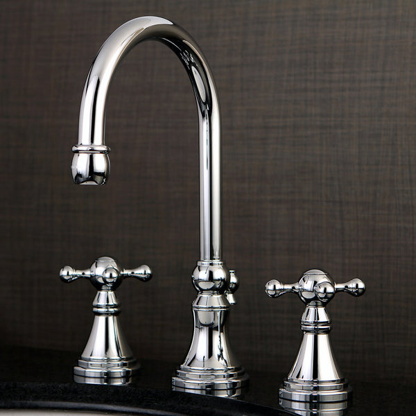 Kingston Brass Chrome 2 Handle Widespread Bathroom Faucet