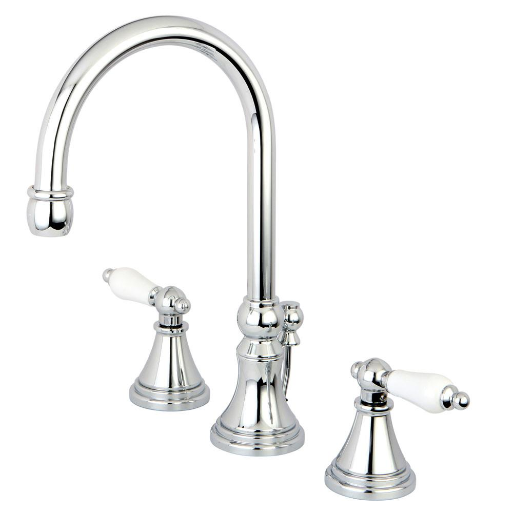 Kingston Brass Chrome 2 Handle Widespread Bathroom Faucet w Pop-up KS2981PL