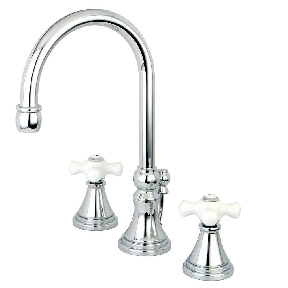 Kingston Brass Chrome 2 Handle Widespread Bathroom Faucet w Pop-up KS2981PX