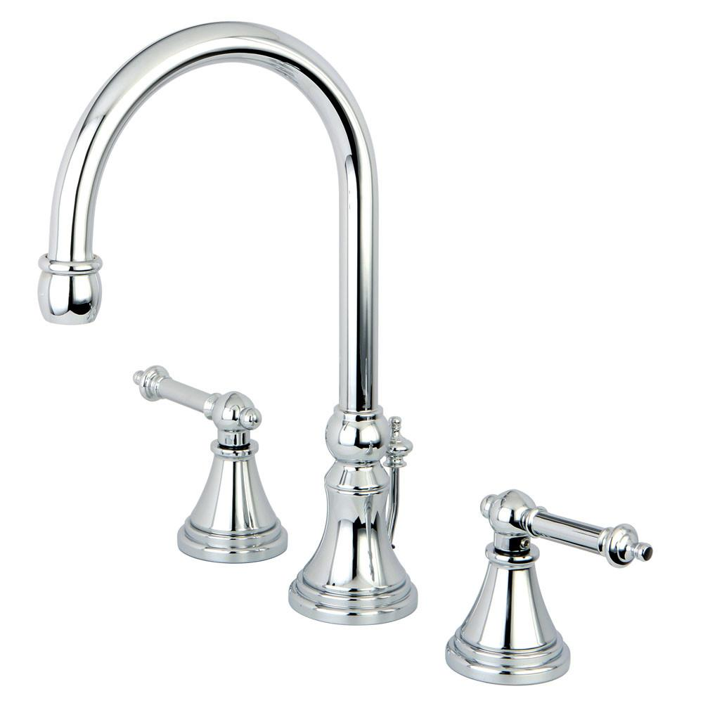 Kingston Brass Chrome 2 Handle Widespread Bathroom Faucet w Pop-up KS2981TL