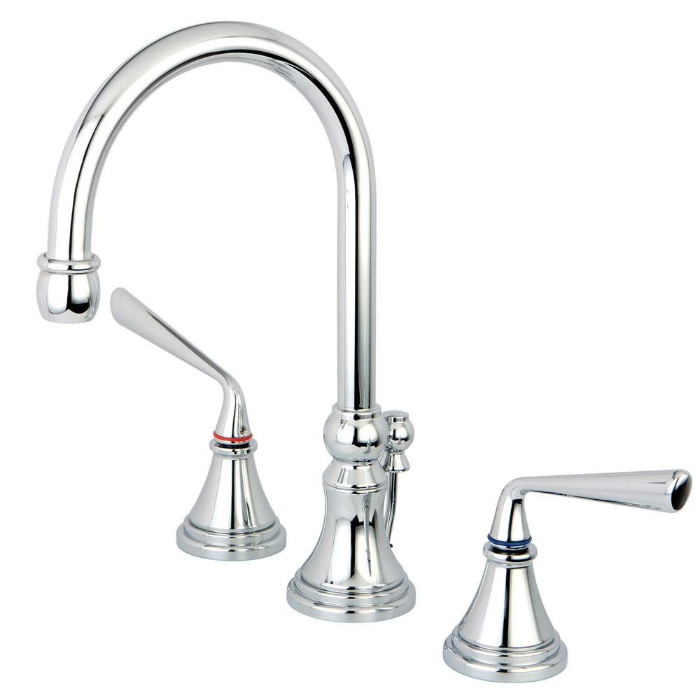 Kingston Brass Silver Sage Chrome Widespread Bathroom Faucet W/ Pop-Up KS2981ZL