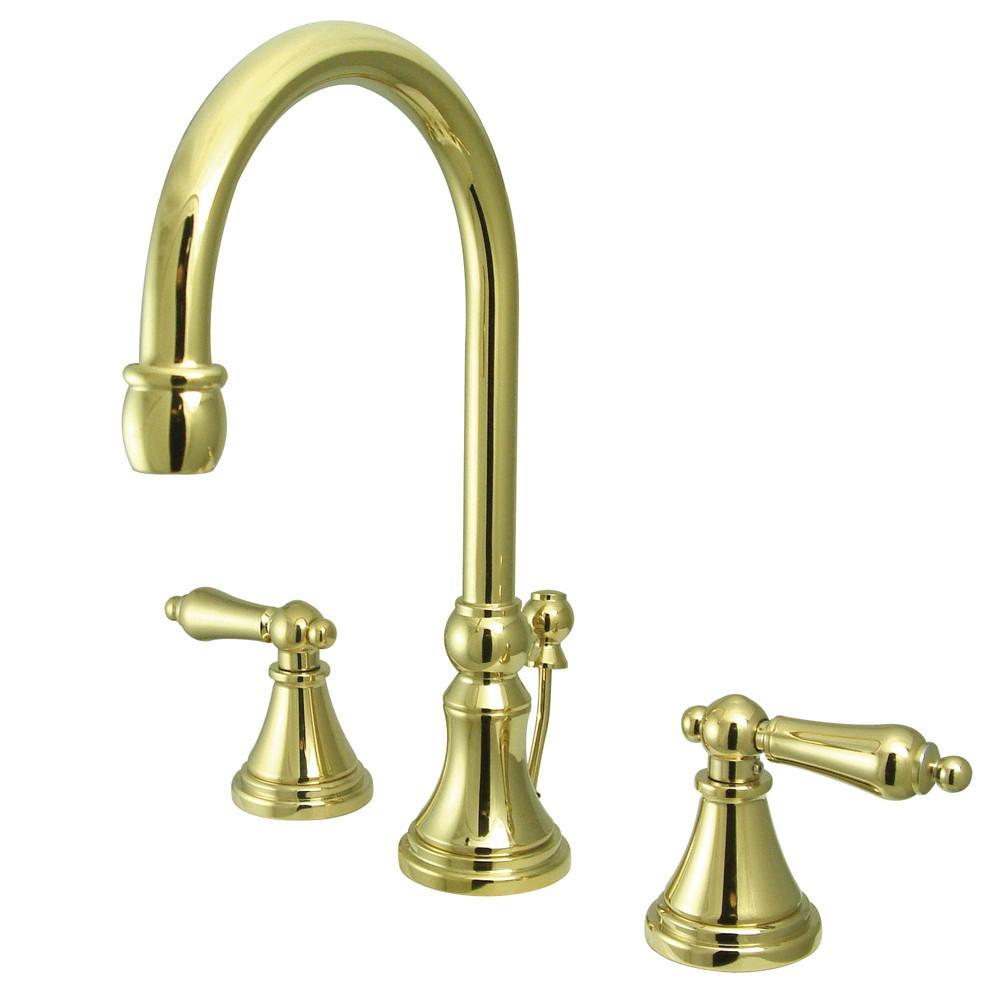Kingston Polished Brass 2 Handle Widespread Bathroom Faucet w Pop-up KS2982AL