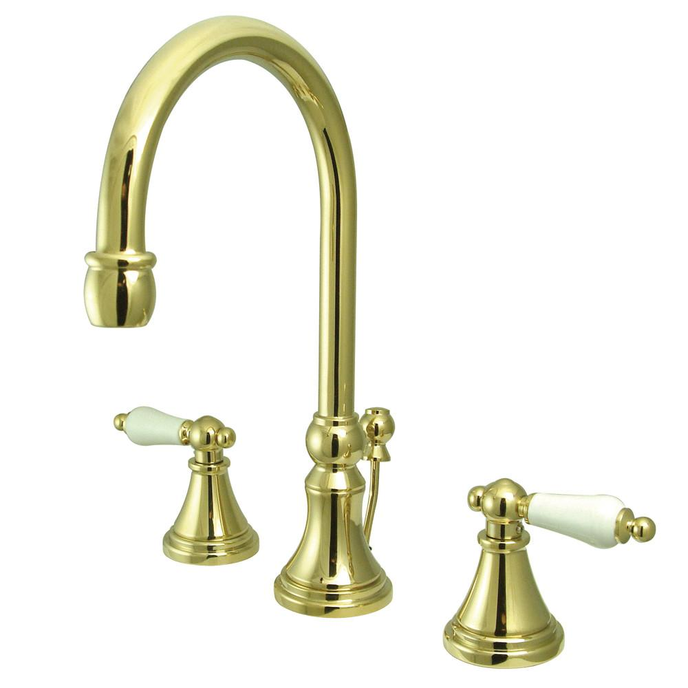Kingston Polished Brass 2 Handle Widespread Bathroom Faucet w Pop-up KS2982PL