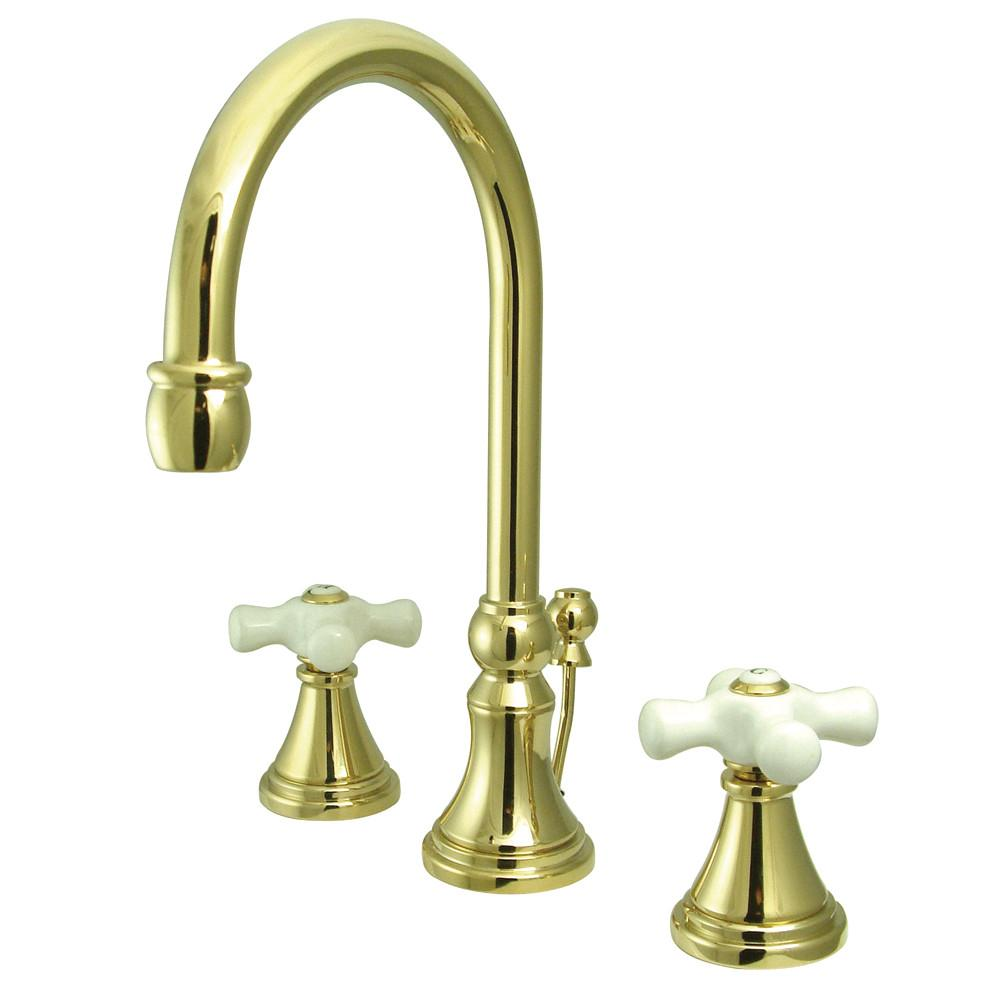 Kingston Polished Brass 2 Handle Widespread Bathroom Faucet w Pop-up KS2982PX