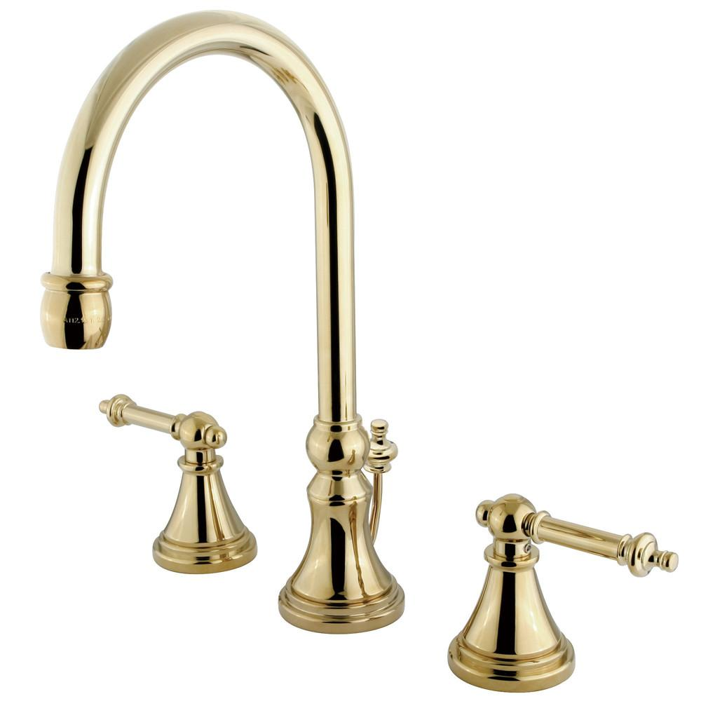 Kingston Polished Brass 2 Handle Widespread Bathroom Faucet w Pop-up KS2982TL
