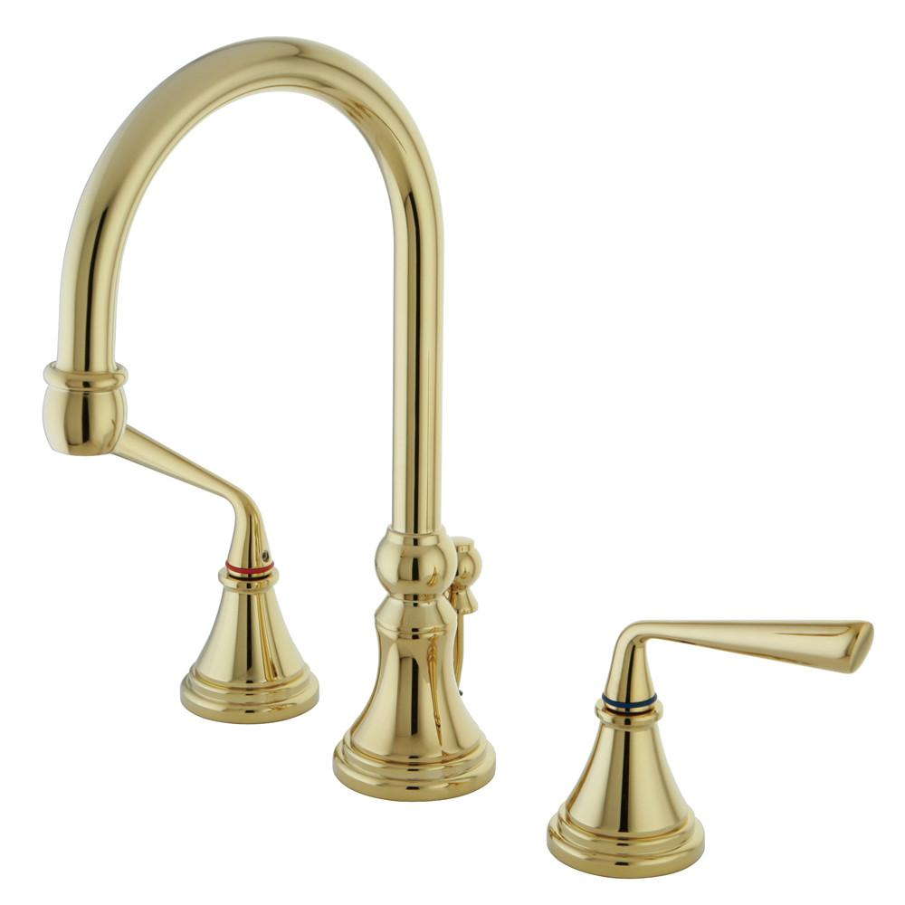 Kingston Silver Sage Polished Brass Widespread Bathroom Faucet W Drain KS2982ZL