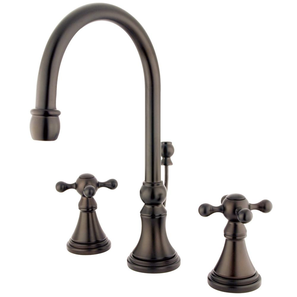Kingston Oil Rubbed Bronze 2 Handle Widespread Bathroom Faucet w Pop-up KS2985KX