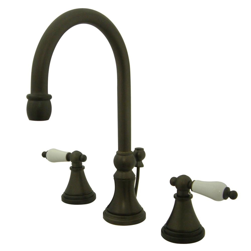 Kingston Oil Rubbed Bronze 2 Handle Widespread Bathroom Faucet w Pop-up KS2985PL