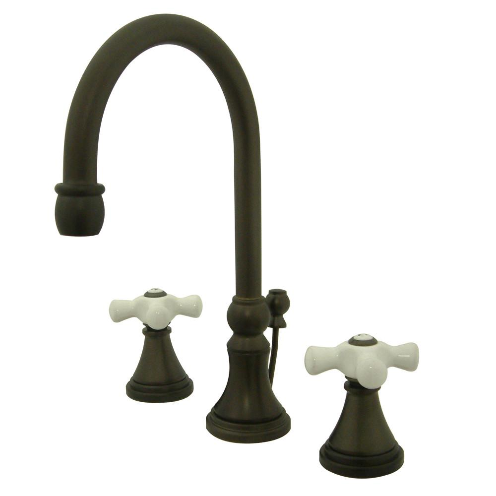 Kingston Oil Rubbed Bronze 2 Handle Widespread Bathroom Faucet w Pop-up KS2985PX