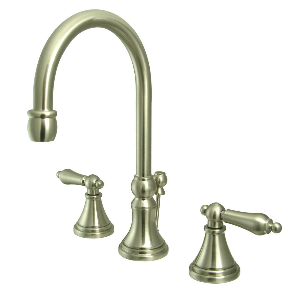 Kingston Satin Nickel 2 Handle Widespread Bathroom Faucet w Pop-up KS2988AL