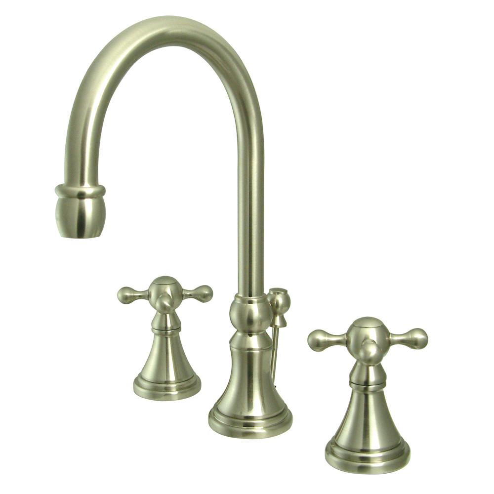 Kingston Satin Nickel 2 Handle Widespread Bathroom Faucet w Pop-up KS2988KX