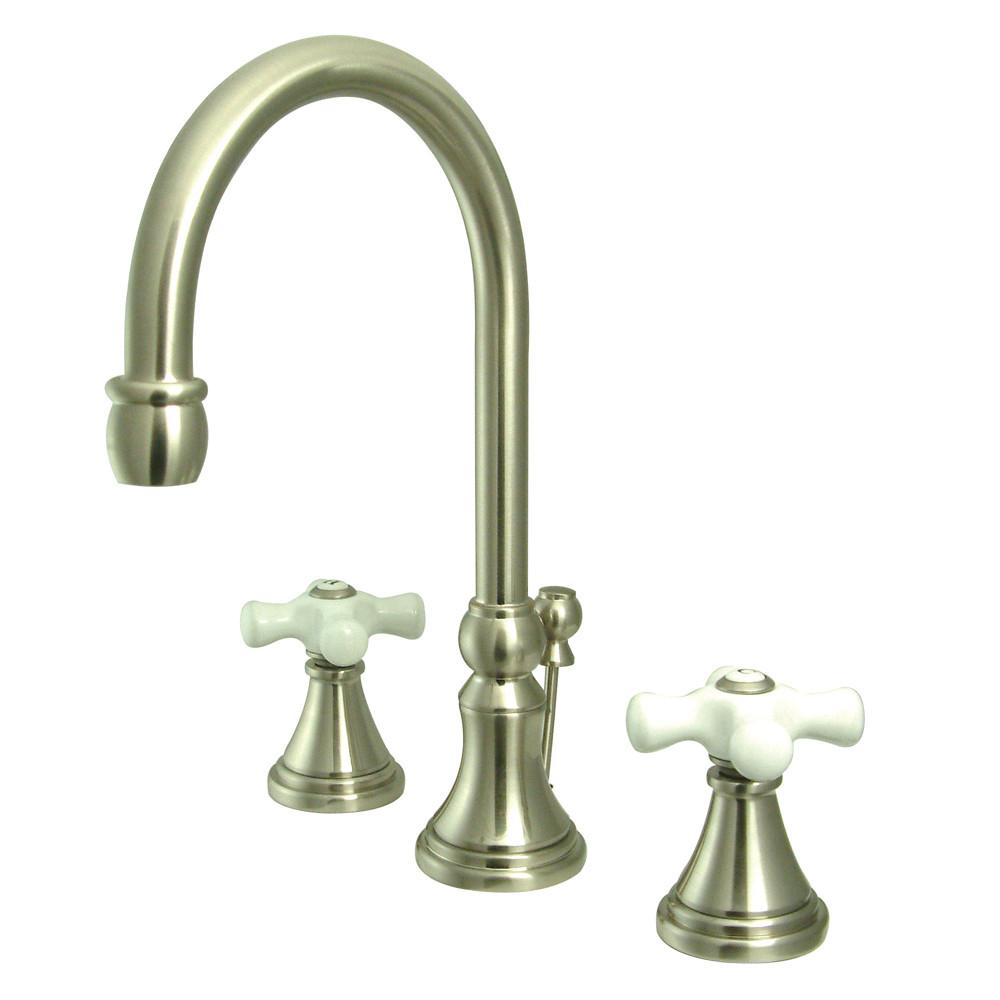 Kingston Satin Nickel 2 Handle Widespread Bathroom Faucet w Pop-up KS2988PX