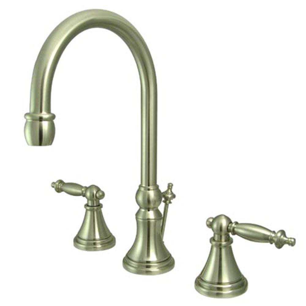 Kingston Satin Nickel 2 Handle Widespread Bathroom Faucet w Pop-up KS2988TL