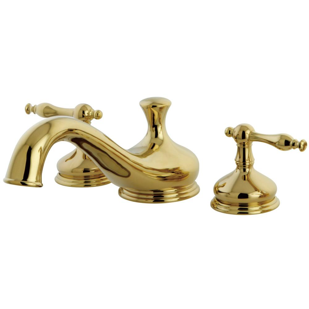 Kingston Polished Brass Heritage Two Handle Roman Tub Filler Faucet KS3332NL
