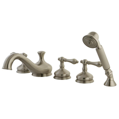 Satin Nickel 3 handle Roman Tub Filler Faucet with Hand Shower KS33385AL