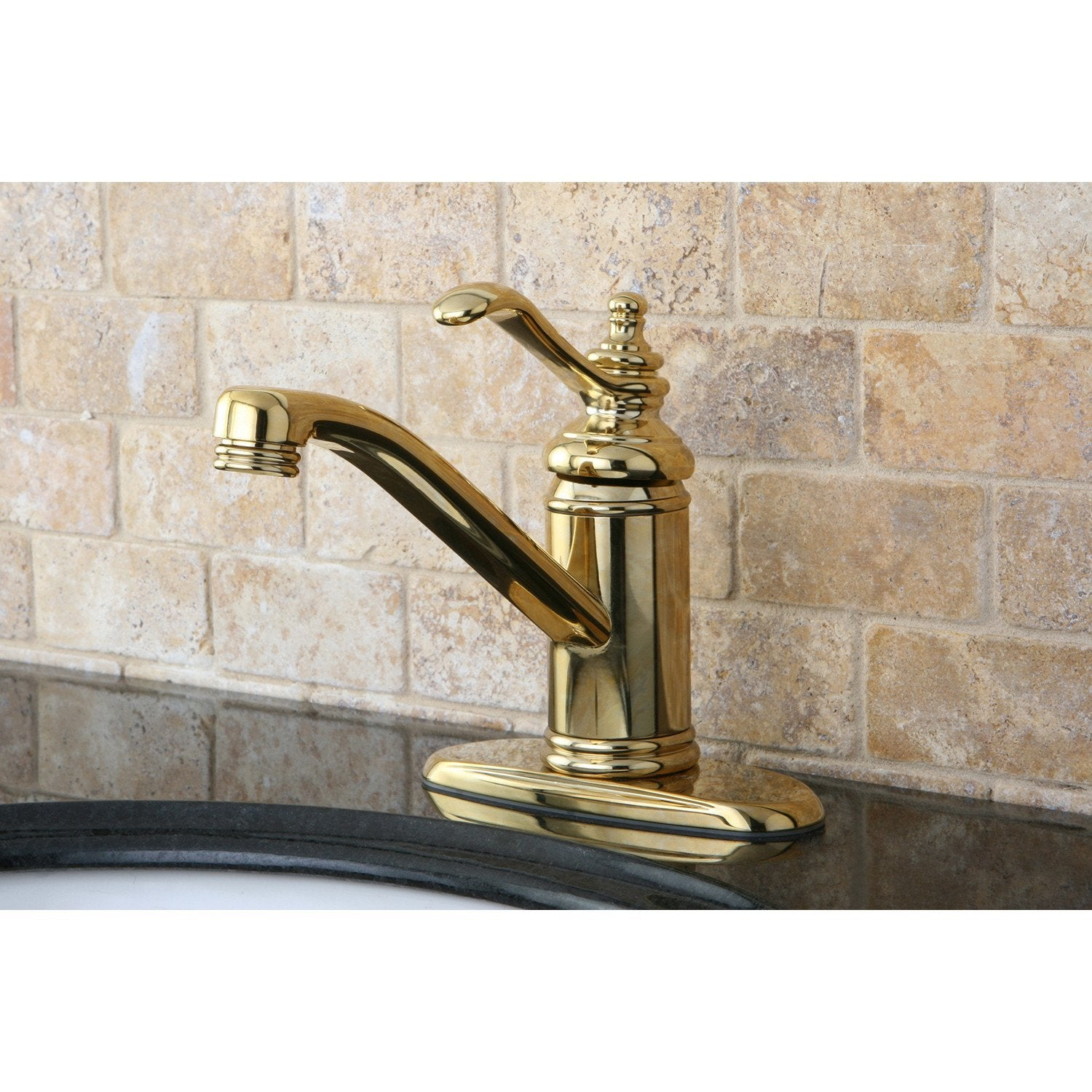 "Polished Brass Templeton 4"" Single Handle Bathroom Faucet W/Push Drain KS3402TL"