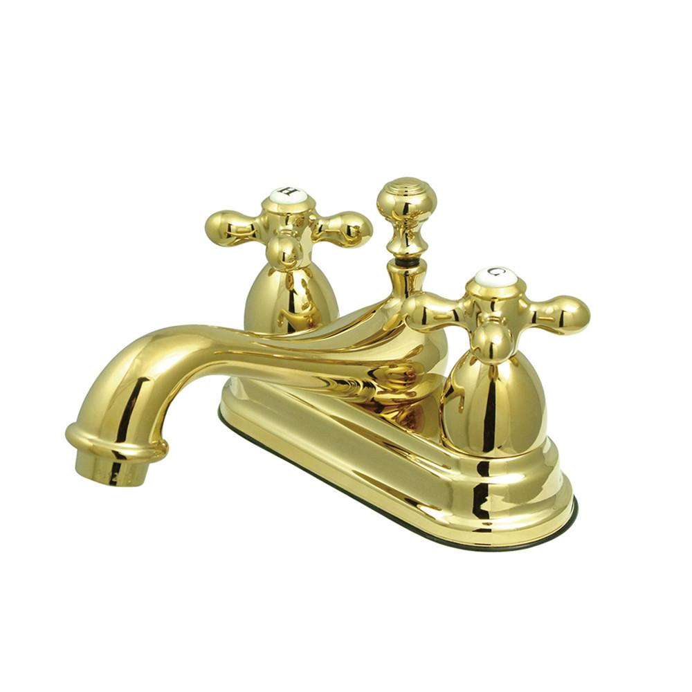 "Kingston Polished Brass 2 Handle 4"" Centerset Bathroom Faucet w Pop-up KS3602AX"