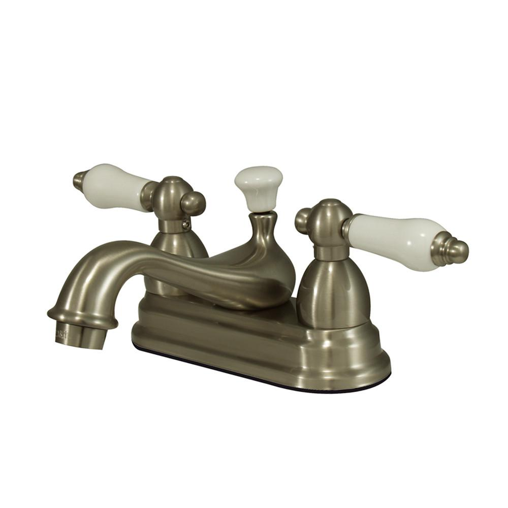 "Kingston Satin Nickel 2 Handle 4"" Centerset Bathroom Faucet w Pop-up KS3608PL"