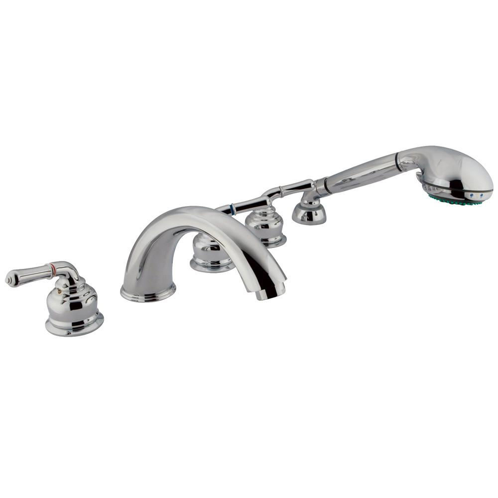 Kingston Chrome Magellan roman tub filler faucet w hand shower KS3615MHS