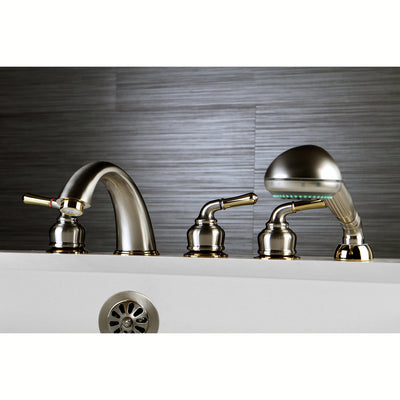 Satin Nickel/Polished Brass Magellan Roman Tub Faucet w Hand Shower KS3695MHS