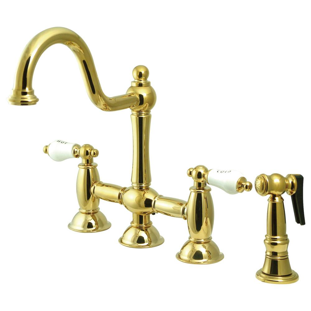"Polished Brass 8"" center Bridge two handle Kitchen Faucet w spray KS3792PLBS"