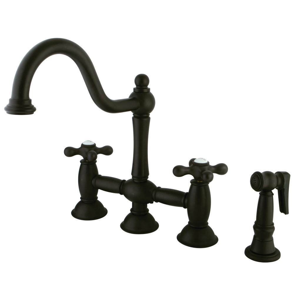 "Oil Rubbed Bronze 8"" Bridge two handle Kitchen Faucet w spray KS3795AXBS"