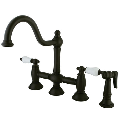 "Oil Rubbed Bronze 8"" Bridge two handle Kitchen Faucet w spray KS3795PLBS"