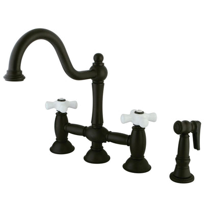 "Oil Rubbed Bronze 8"" Bridge two handle Kitchen Faucet w spray KS3795PXBS"