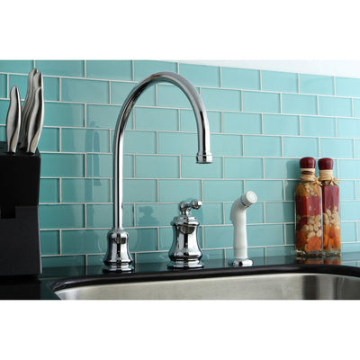 Kingston Chrome Single Handle Widespread Kitchen Faucet with Sprayer KS3811AL