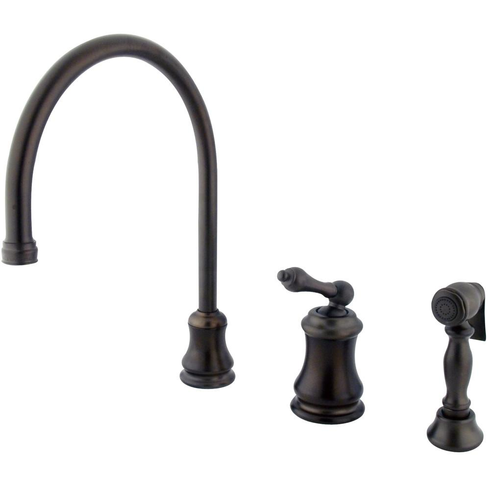 Oil Rubbed Bronze Single Handle Widespread Kitchen Faucet w Spray KS3815ALBS