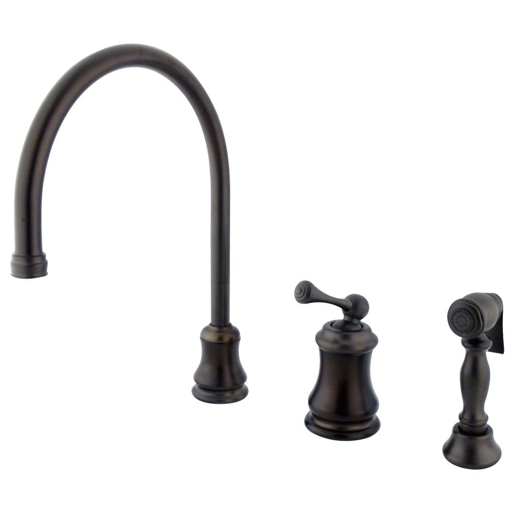 Oil Rubbed Bronze Single Handle Widespread Kitchen Faucet w Spray KS3815BLBS